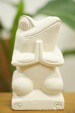 石彫り お祈りカエル 「ストーンレリーフ&石彫り」