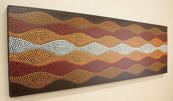 バリ絵画 ドットアート140x45 K 「バリ絵画『ドットアート』」