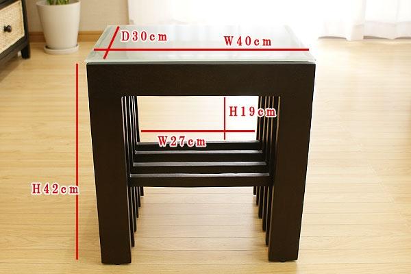 チークサイドテーブルA(格子) 「ローテーブル&サイドテーブル『アジアン家具』」