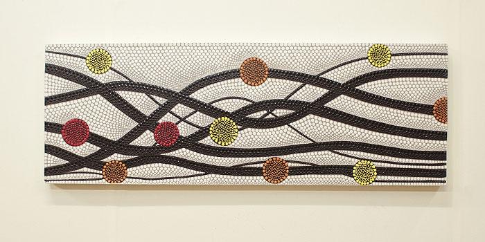 バリ絵画 ドットアート100x35 N 「バリ絵画『ドットアート』」