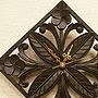 アジアンレリーフ 木製 壁掛け時計 C