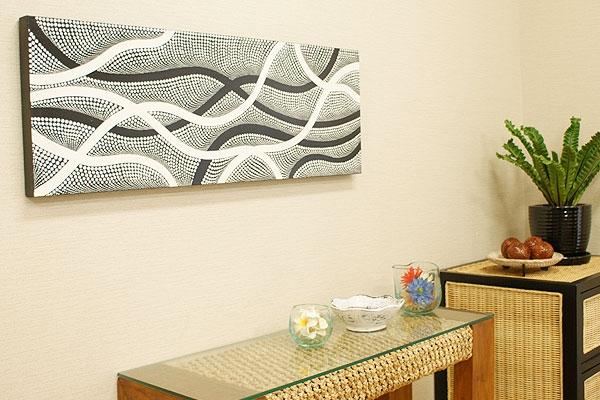 バリ絵画 ドットアート100×35 Obk 「バリ絵画『ドットアート』」