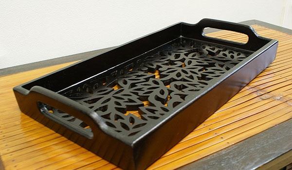 木製カフェトレイ ロータス 「バリ雑貨『ウッド&その他』」