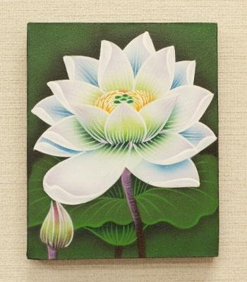 バリ絵画 ロータスミニ02 20×25 「バリ絵画『フラワースタイル』」