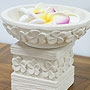 石彫り プルメリア睡蓮鉢 「ストーンレリーフ&石彫り」