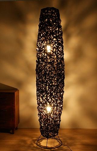 バンブー フロアランプA 150 ブラック 「アジアンランプ&照明」