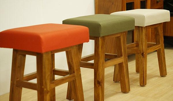チーク&ファブリック スツール A 「スツール&ベンチ『アジアン家具』」
