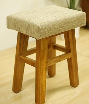 チーク&ファブリック スツール B 「スツール&ベンチ『アジアン家具』」