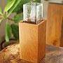 バリガラス&チークウッド 一輪挿し スクエア 「バリ雑貨『陶器&ガラス』」