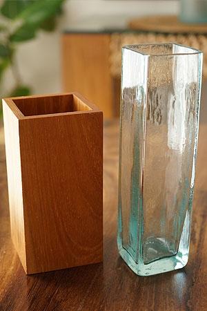 バリガラス&チークウッド フラワーベース 「フラワーベース」