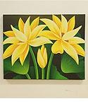 バリ絵画 ロータス 50×40 イエロー 「バリ絵画『フラワースタイル』」