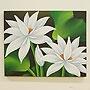 バリ絵画 ロータス 50×40 ホワイト 「バリ絵画・アジアンアート」