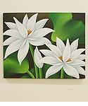 バリ絵画 ロータス 50×40 ホワイト 「バリ絵画『フラワースタイル』」