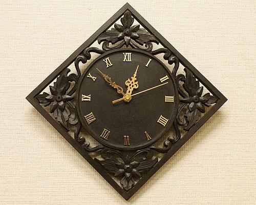 アジアン 木製 掛け時計 アンティーク