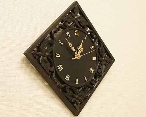 アジアン 木製 掛け時計 おしゃれ