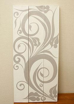 バリ絵画 3連ドットアート C モノトーン 「バリ絵画『ドットアート』」