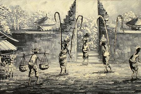 バリ島 風景画ロング 油絵01 「バリ島の風景画『ライステラス、トロピカルビーチなど』」