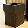 パンダン&フェイクレザー ゴミ箱 スクエア ブラック 「バリ雑貨『パンダン&ウォーターヒヤシンス』」