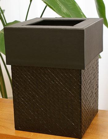 パンダン&フェイクレザー ゴミ箱 スクエア ブラック 「ゴミ箱」