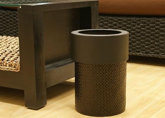 パンダン&フェイクレザー ゴミ箱 ラウンド ブラック 「ゴミ箱」