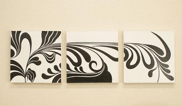 バリ絵画 3連ドットアート02 「バリ絵画『ドットアート』」