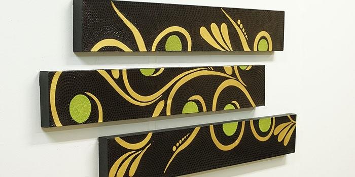バリ絵画 3連ドットアート R(アウトレット) 「在庫処分 アウトレットセール」