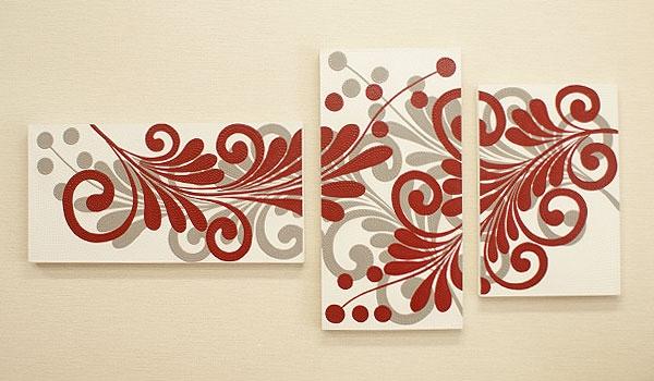 バリ絵画 3連複合 ドットアート05 「バリ絵画『ドットアート』」