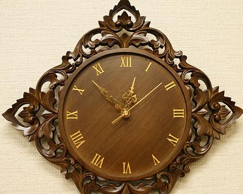 無垢 木製 掛け時計 おしゃれ