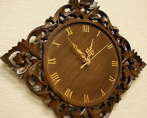 無垢 木製 壁掛け時計 レトロ