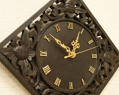 アジアン 木製 掛け時計 レトロ