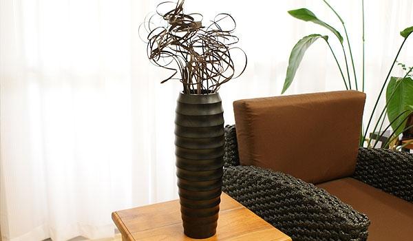 アジアンインテリア フラワーベース 木製 造花