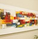 バリ絵画 モダンアート120×45 29 「バリ絵画『モダンスタイルアート』」