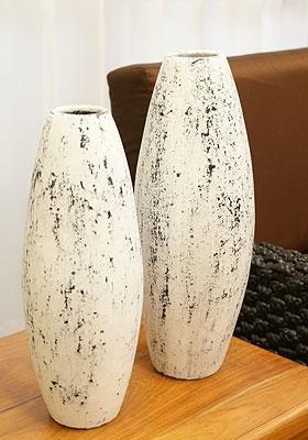 テラコッタ フラワーベース 花瓶 白