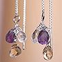 天然石アメリカンピアス01『シトリン、アメジスト、水晶』