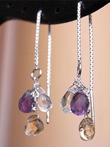 天然石アメリカンピアス01『シトリン、アメジスト、水晶』 「天然石ピアス/イヤリング」