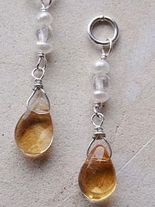 天然石ピアスチャーム08『シトリン、淡水パール、水晶』 「天然石ピアスチャーム『シルバー925』」