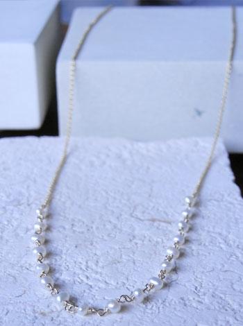 天然石ゴールドネックレス02『ロングパール』 「天然石ネックレス」