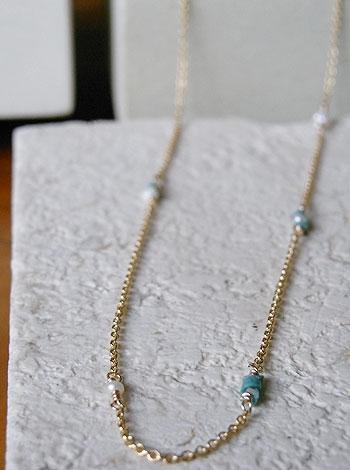 天然石ゴールドネックレス08『エンクラスト トルコ石』 「天然石ネックレス」