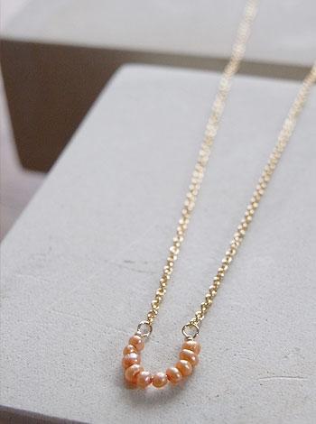 天然石ゴールドネックレス05『馬蹄ゴールドパール』 「天然石ネックレス」